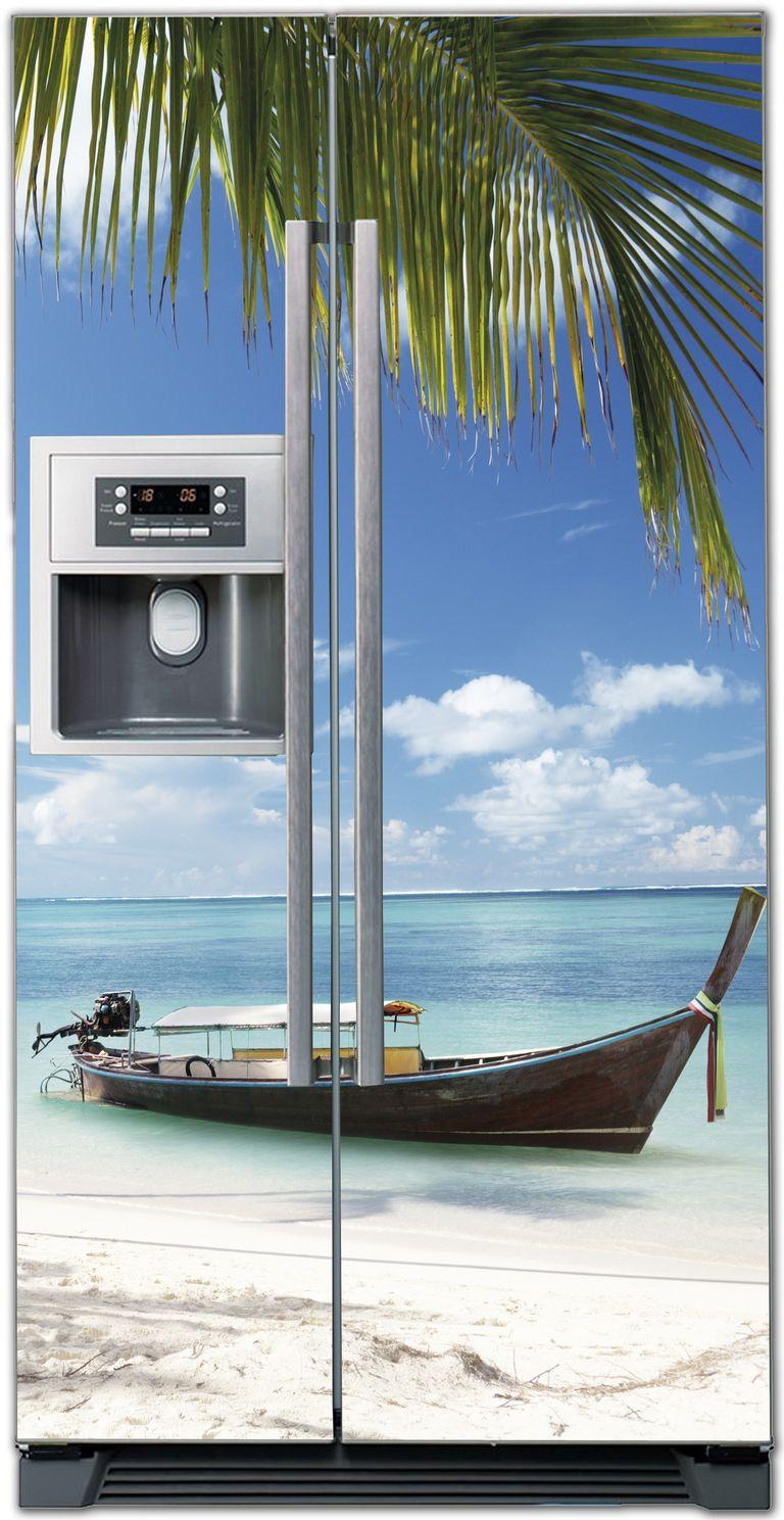 Виниловая наклейка на холодильник - Пляж 4