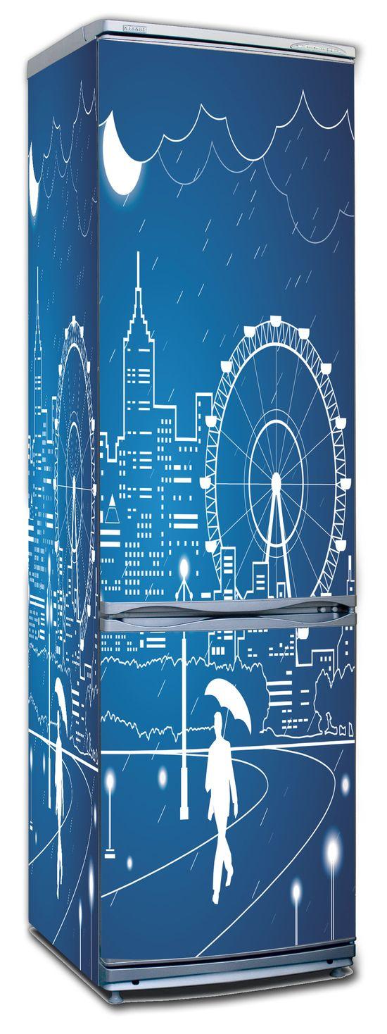 Виниловая наклейка на холодильник -  Полнолуние-3