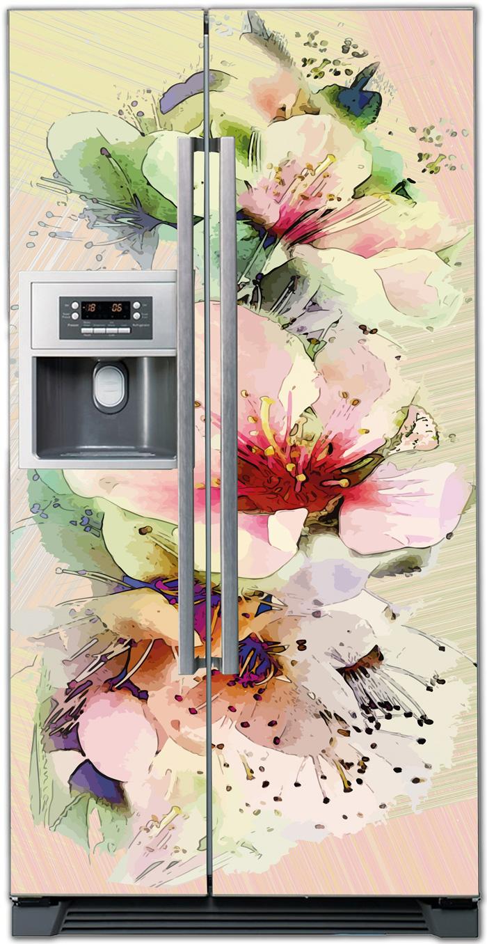 Виниловая наклейка на холодильник -  Букет