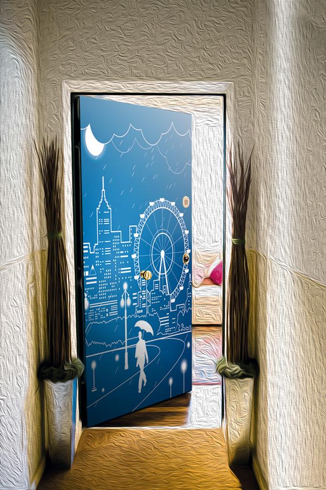 Виниловая наклейка на дверь -  Полнолуние-3