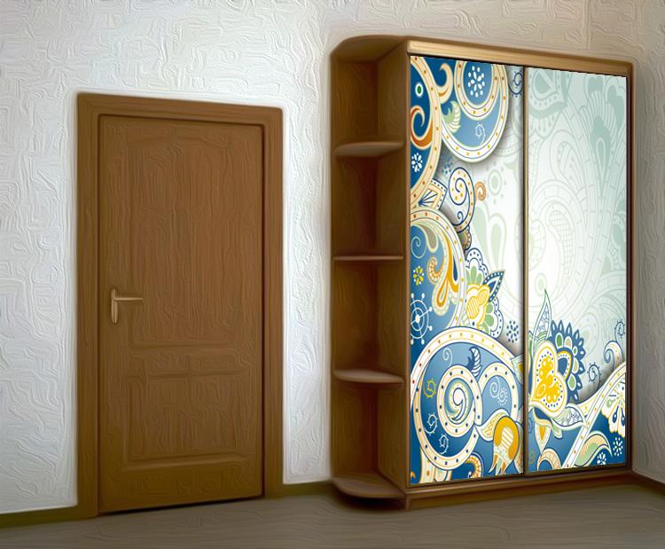 Наклейка на шкаф - Винтаж с голубым