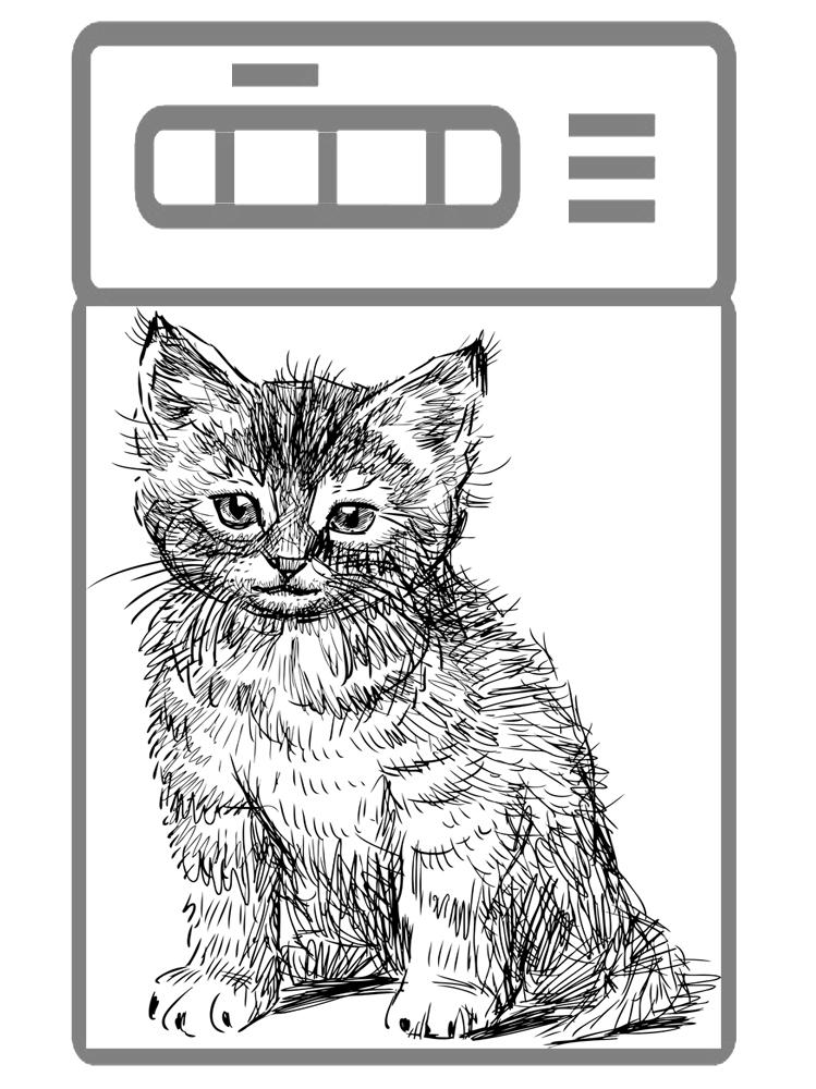 Наклейка на посудомоечную машину  - Кошка