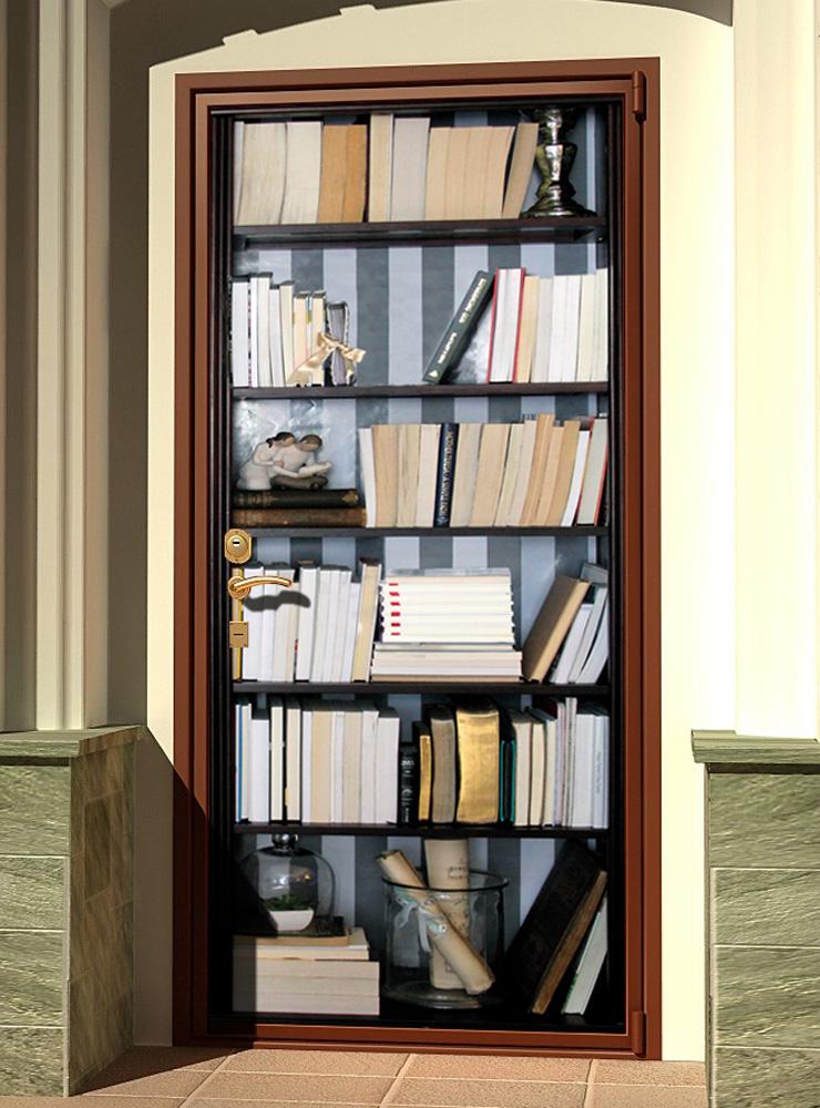 Виниловая наклейка на дверь - Книжный шкаф