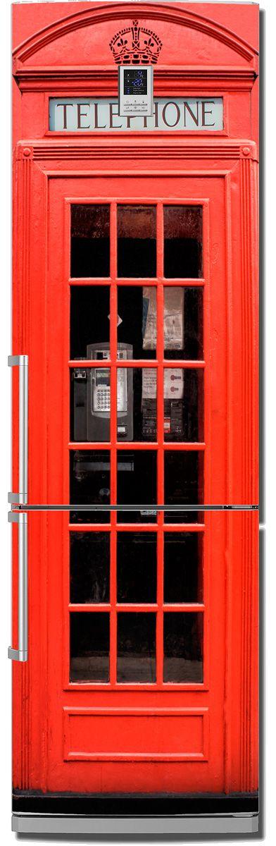 Наклейка на холодильник -  Красная будка  купить в магазине Интерьерные наклейки