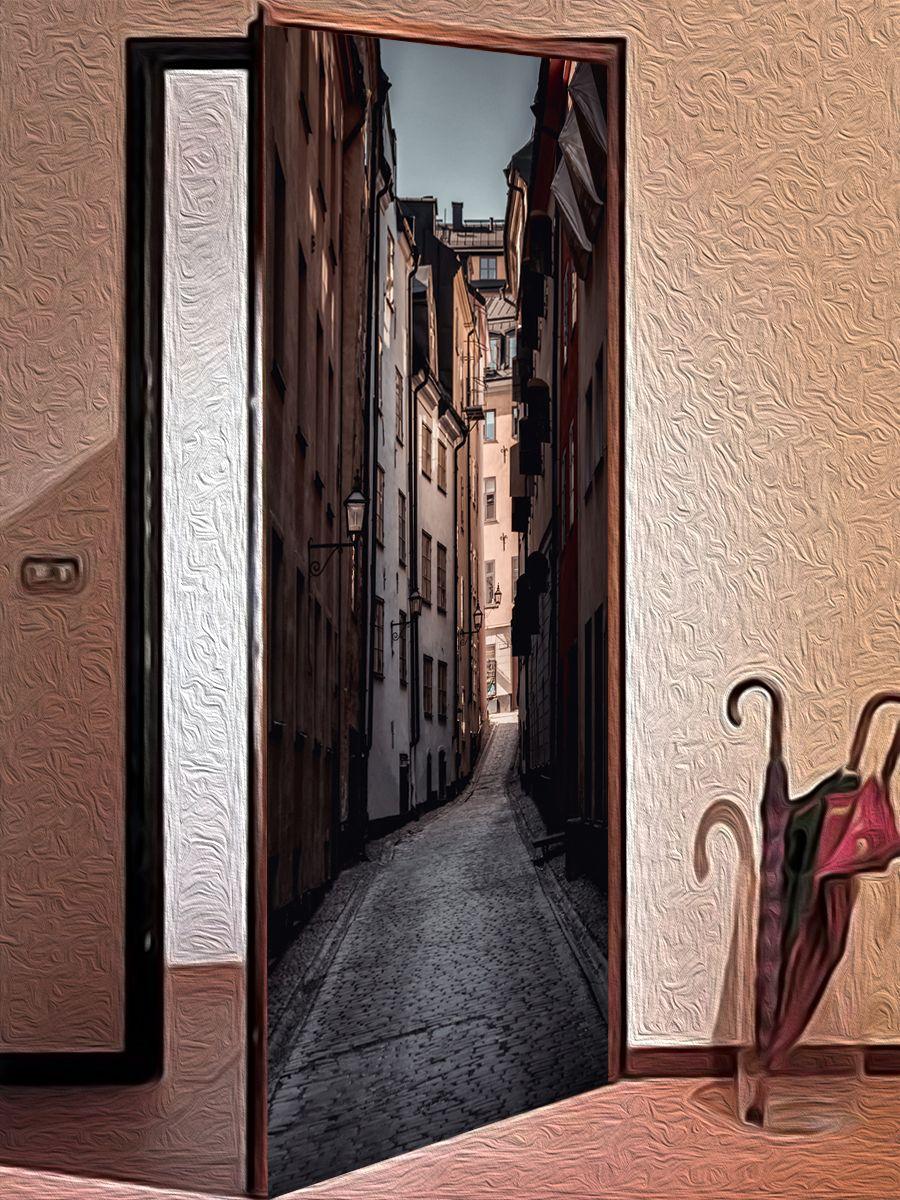 Наклейка на дверь - Улочка, купить в магазине Интерьерные наклейки
