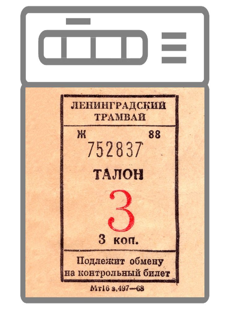 Наклейка на кухню и технику -  Ленинградский трамвай