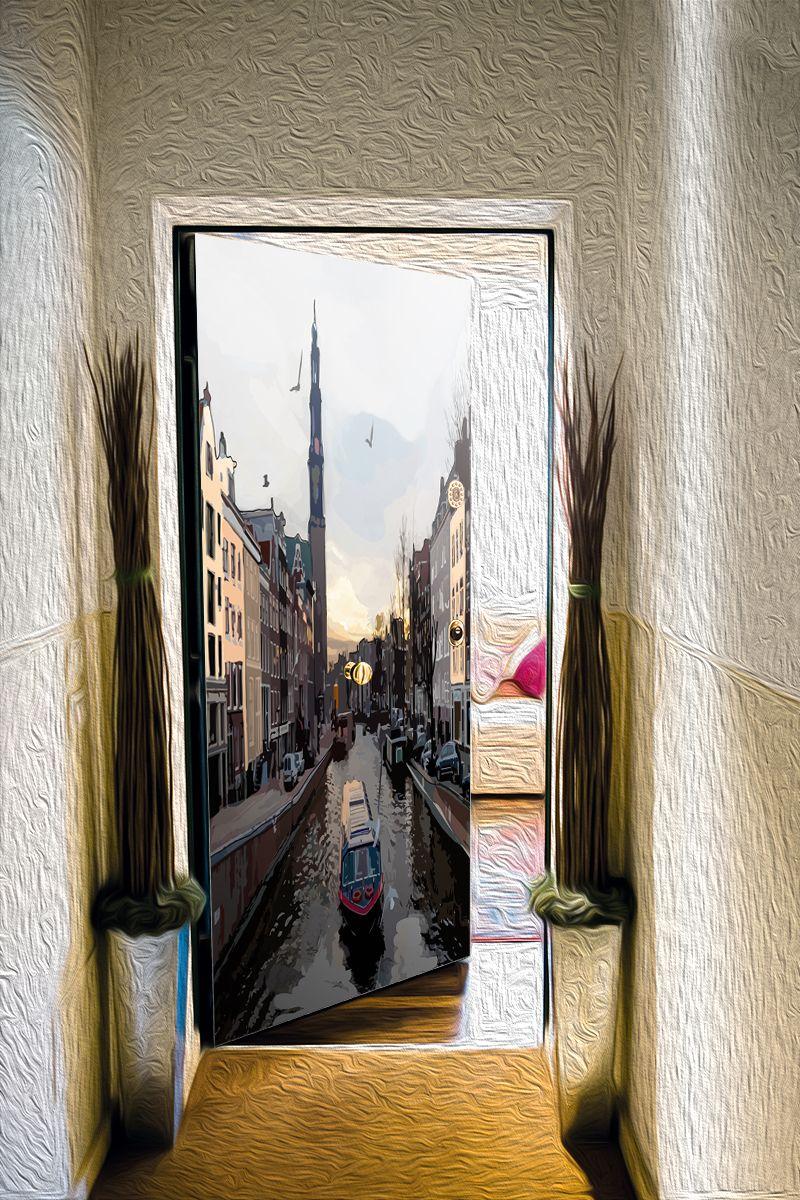 Наклейка на дверь - Прогулки по Амстел | магазин Интерьерные наклейки