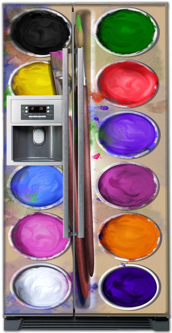 наклейка на холодильник - Акварель