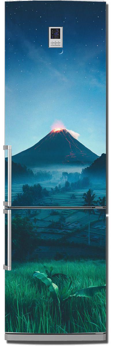 Наклейка на холодильник - Подножие вулкана