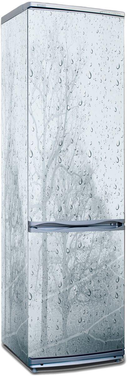 Наклейка на холодильник ветер и дождь.