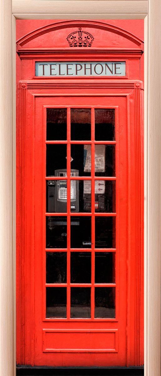 Наклейка на дверь - Красная будка купить в магазине Интерьерные наклейки