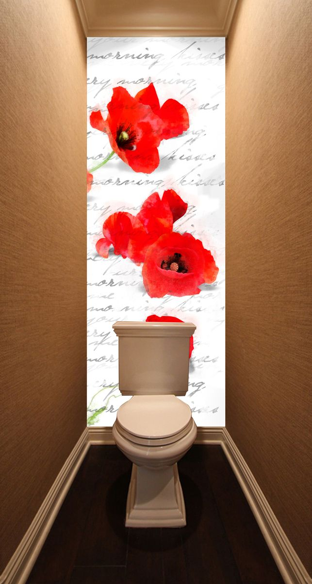 Фотообои в туалет -  Зарисовка с маками магазин Интерьерные наклейки