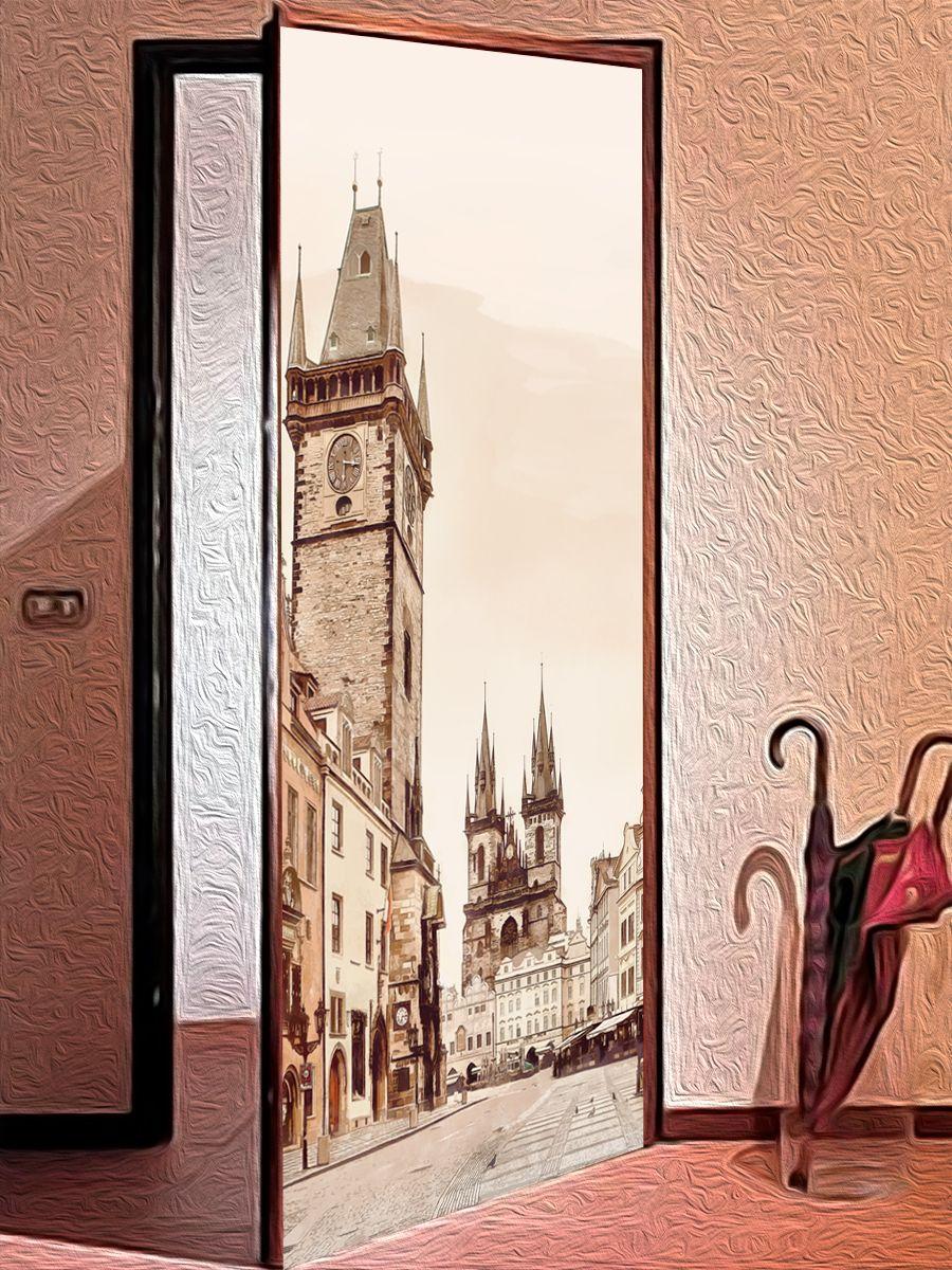 Наклейка на дверь - Город утром | магазин Интерьерные наклейки