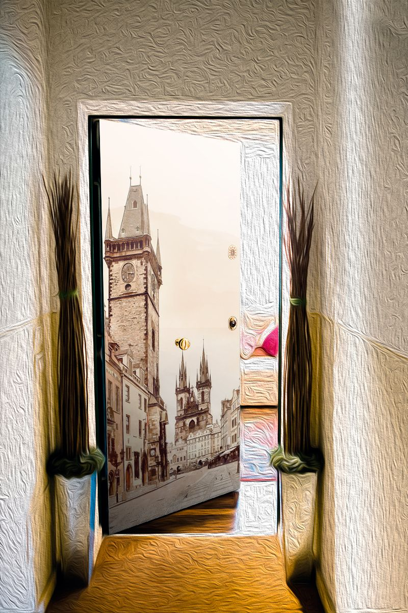 Door sticker - Town morning by X-Decor