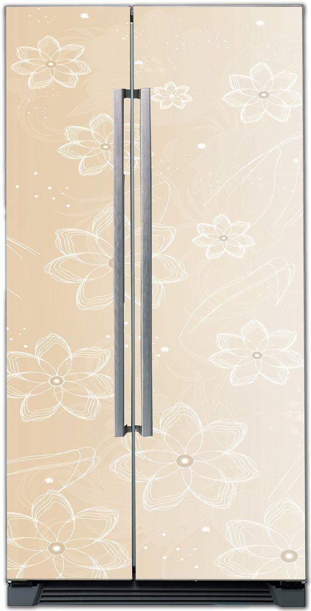 Наклейка на холодильник - Цветочный латте | магазин Интерьерные наклейки