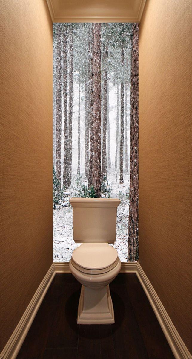 Фотообои в туалет - Соснам не укрыться от снега магазин Интерьерные наклейки