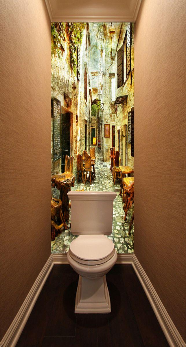 Фотообои в туалет - старые улочки Греции 1 магазин Интерьерные наклейки