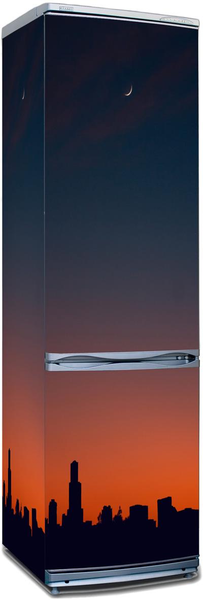 наклейка на холодильник -  Силуэт города