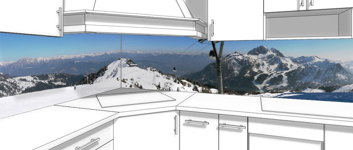 Наклейка на фартук кухни - За окошком Альпы